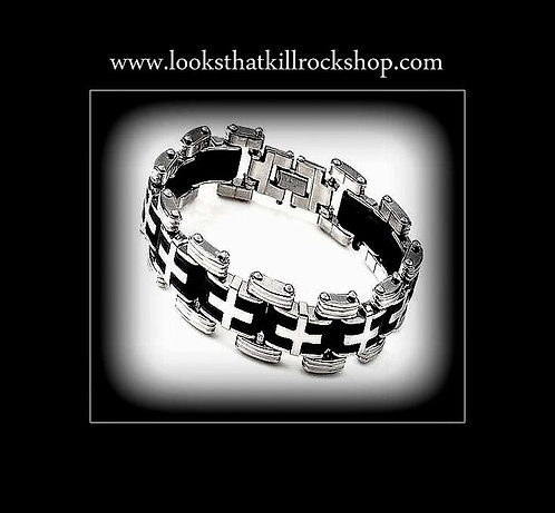Cross Link Stainless Steel Mens Bracelet