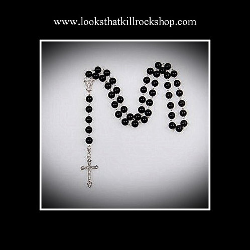Nikki Sixx Style Black Onyx Color Girasol Pearl Crucifix Cross Rosary Necklace