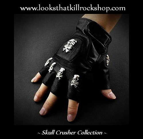 """Killer  Stage Wear """"Skull Crusher"""" Biker Gloves"""