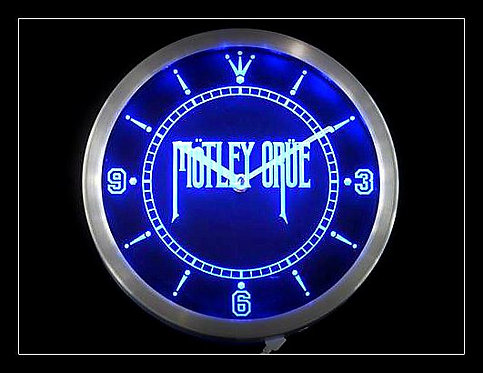 """Motley Crue""  Bar Wall Neon Clock (Blue)"