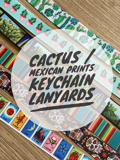 Cactus / Mexican Print Wristlet Keychain Lanyards