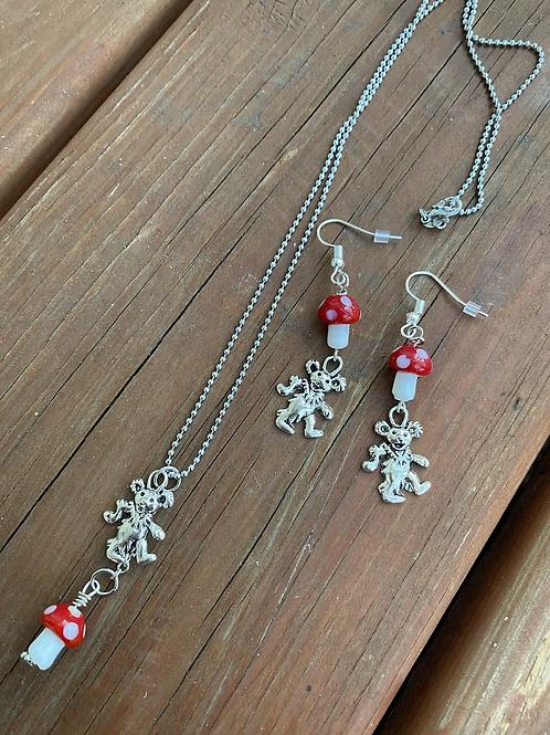 Grateful Dead inspired Dancing Bear Glass Mushroom Necklace