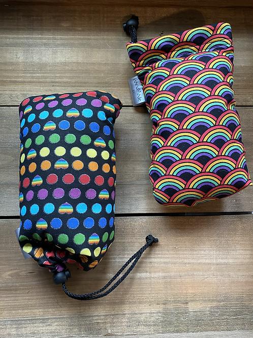 Rainbow Padded Drawstring Pipe Bags