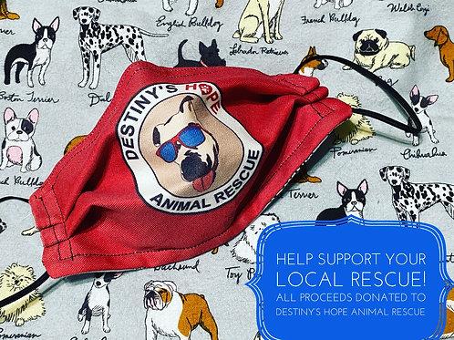 Destinys hope animal rescue logo reversible dog print face mask