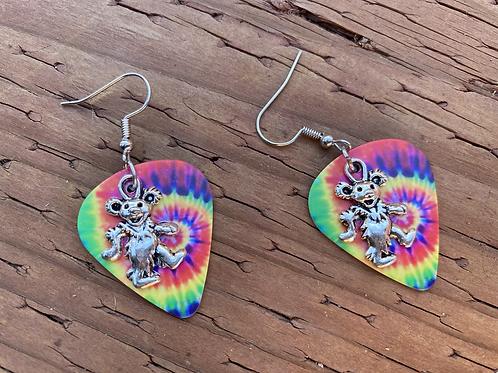 Grateful Dead Dancing Bear Tie Dye Guitar Pick Earrings