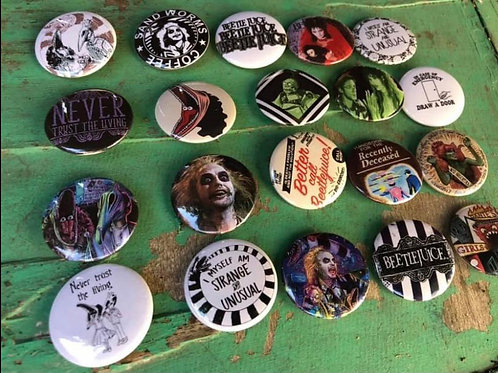 Beetle juice 20pack buttons set 1.25 inch