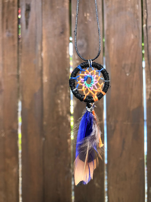 Orange and Blue Dreamcatcher Necklace