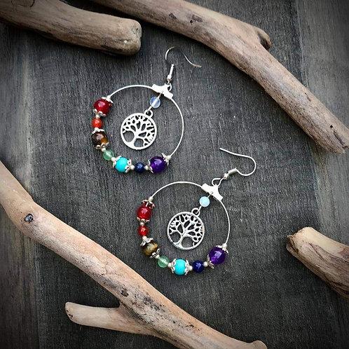 Chakra Tree Yoga Hoop Earrings