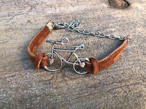 Brown Suede Bicycle Bracelet