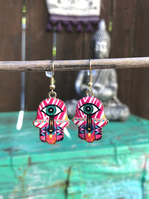 Colorful Hamsa Earrings