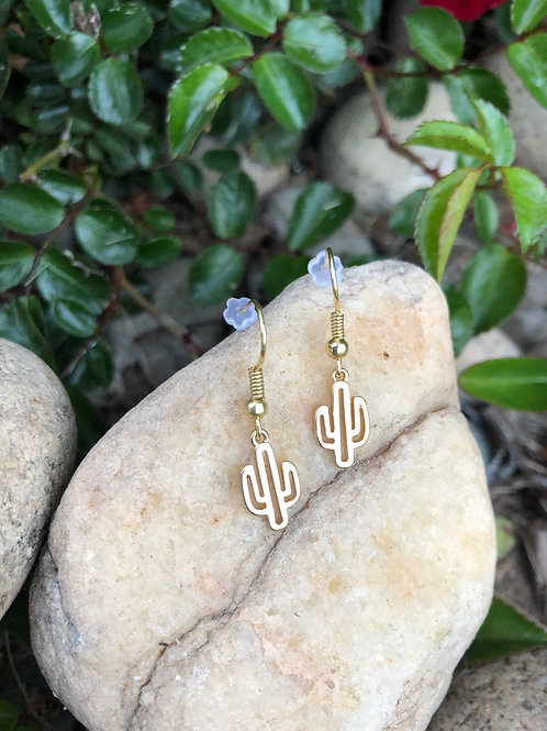 Little Gold Cactus Earrings