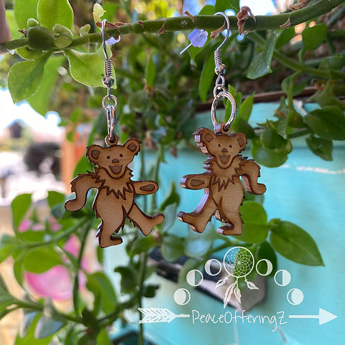 Grateful Dead Dancing Bears Wooden Earrings