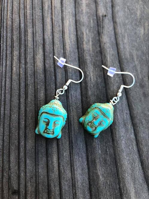 Turquoise Buddha Stone Earrings