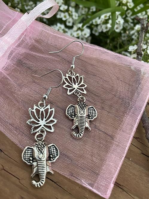 Elephant Lotus Dangle Earrings