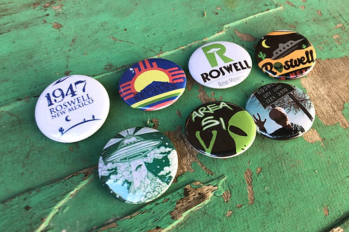 Roswell Area 51 Set of 7 Buttons