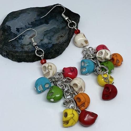 Colorful Mini Skull Chain Earrings