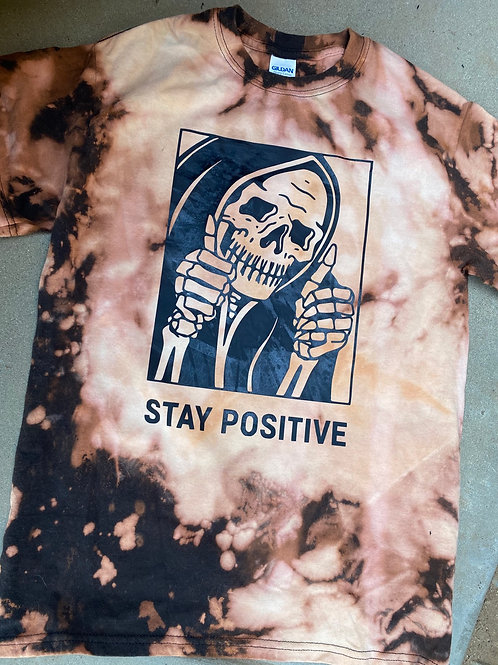 Stay Positive Bleach Dyed Skeleton Tee