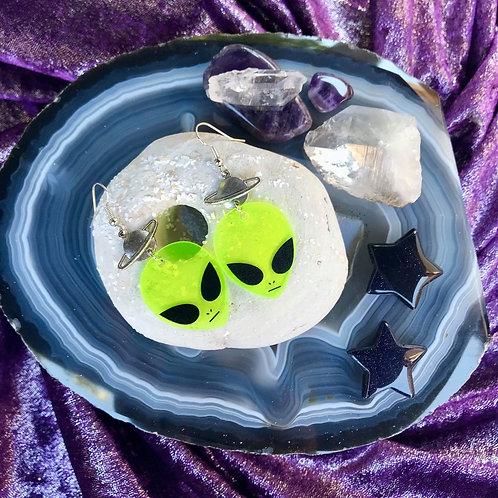 Neon Saturn Alien Earrings
