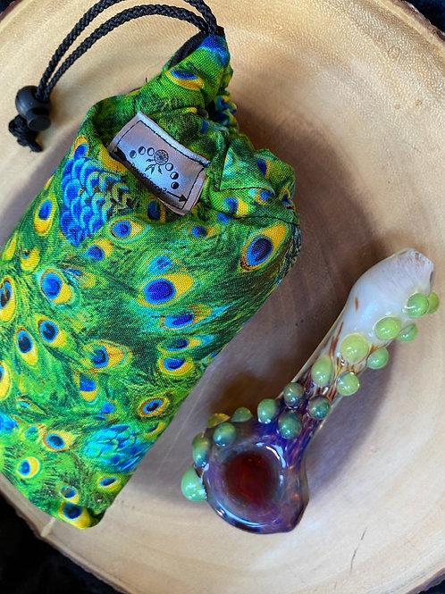 Peacock Padded Drawstring Pipe Bag 7x4