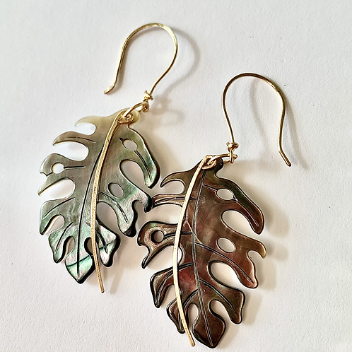 Gold Stem Monstera Earrings