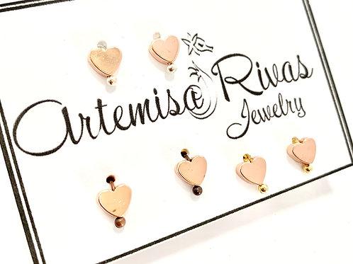 Rose Gold Tiny Heart Stud Earrings