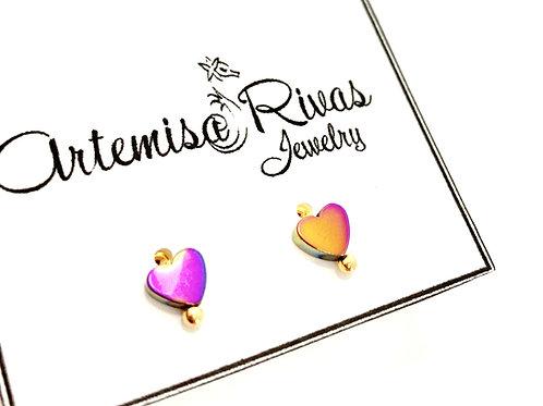 Iridescent Tiny Heart Stud Earrings