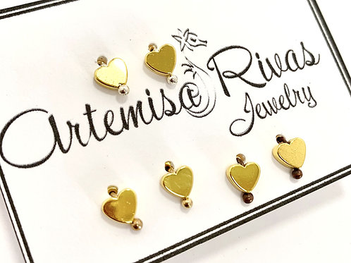 Gold Tiny Heart Stud Earrings