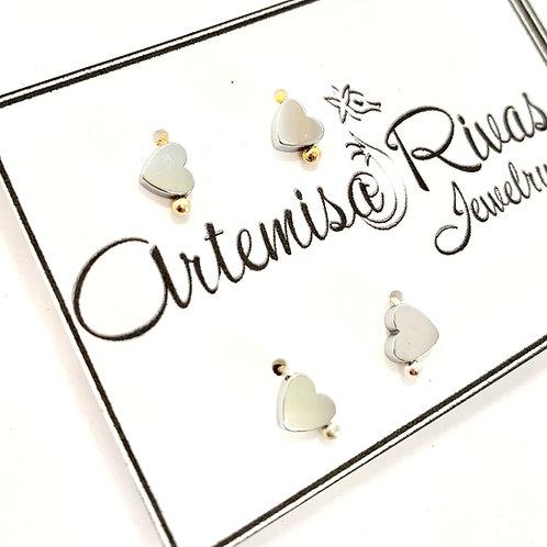 Silver Tiny Heart Stud Earrings