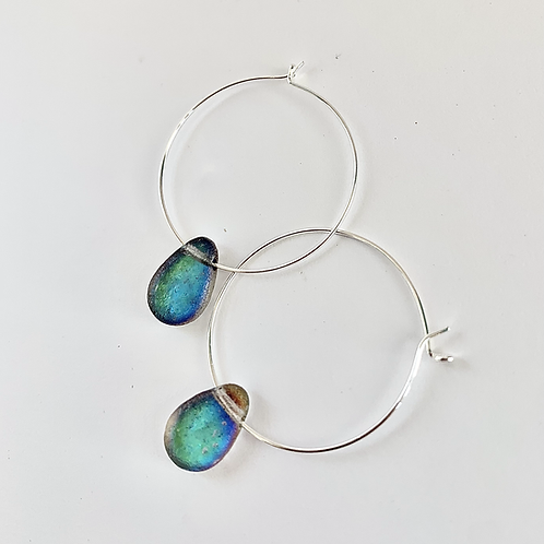 Large Hoop Color Drop Earrings