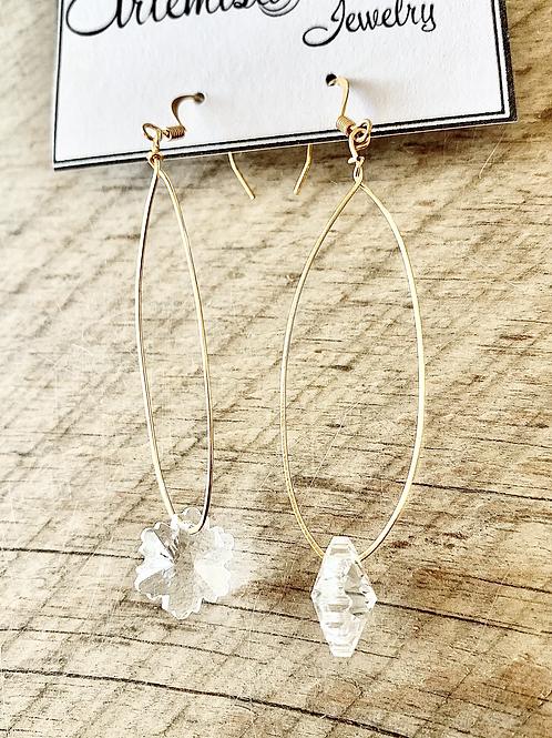 Long Crystal Snowflake Earrings