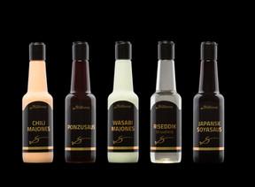 Etikett til sausflasker