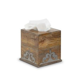 Wood and Metal Tissue Box
