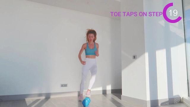 Toe Taps On Step - Dumbbell