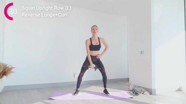 Squat Upright Row+Reverse Lunge+Curl
