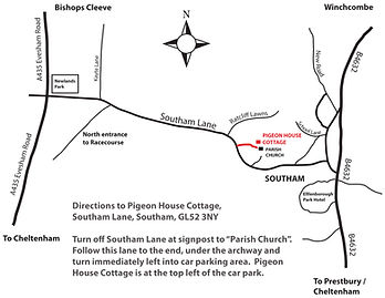 Map of how to find Pigeon House Cottage B&B