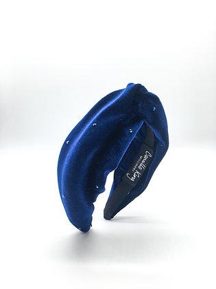 Navy Velvet Turban Headband