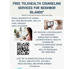 FREE telehealth counseling services for