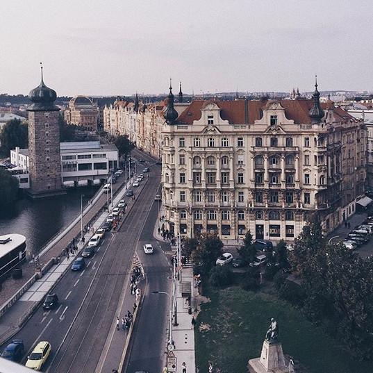 Admiring Prague views