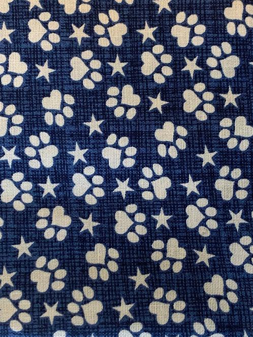 White Pawprint and Stars reverses to Navy Blue