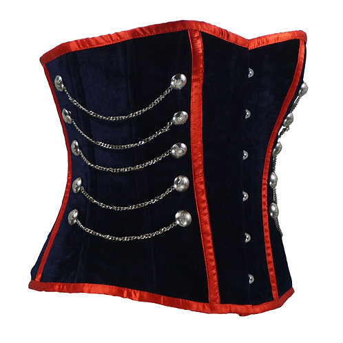 Blue with Red Trim Overbust