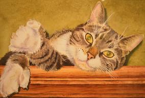 prix maîtrise technique décerné à Carmen Desjardins pour son aquarelle : «C'est «chat» le bonheur»