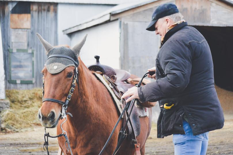 Un cavalier de trail avec son cheval