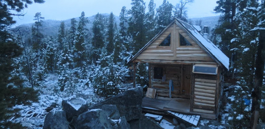 Chris's cabin at first snow