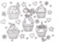 Unicorn cupcake colouring sheet KMcakesE