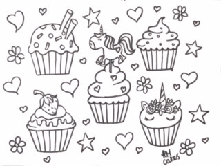 Unicorn cupcake colouring sheet KMcakesE