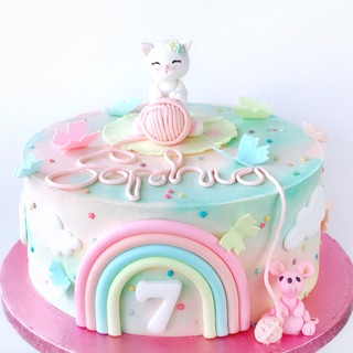 Cat and mouse rainbow cake KMcakesEindho