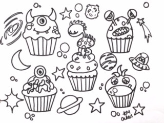 Monsters cupcake colouring sheet KMcakes