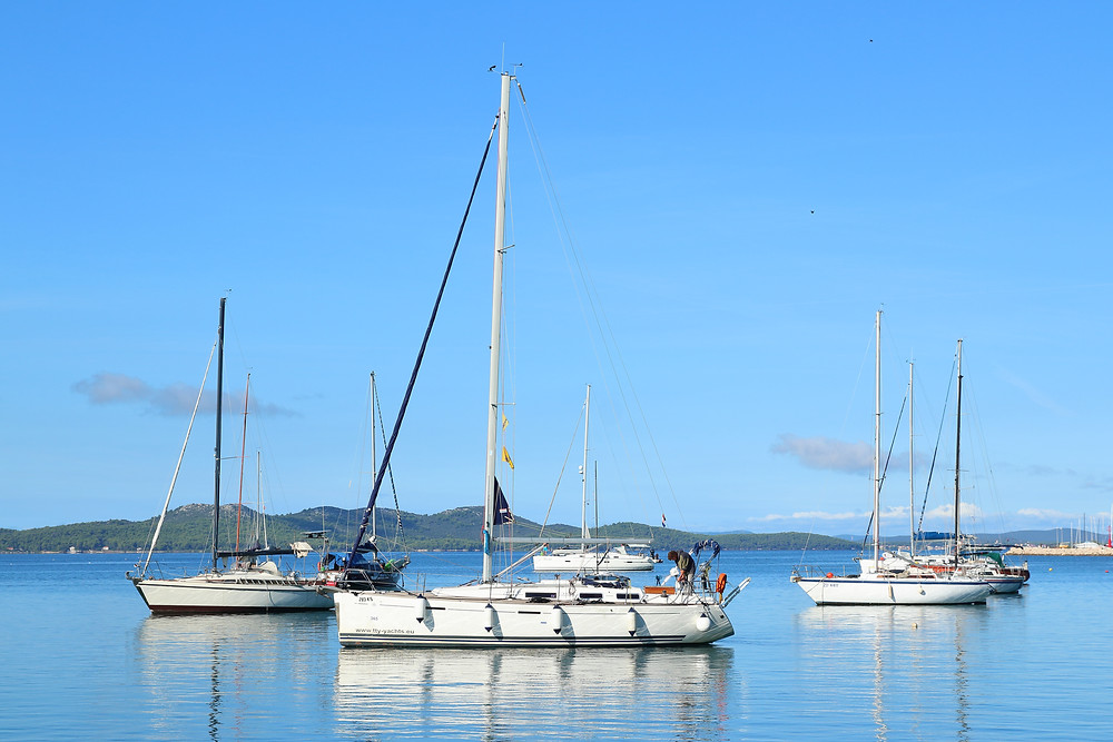 yachts at anchor, sailing vacation, yacht charter, croatia