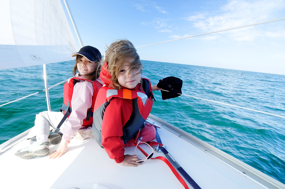 children sailing, summer holiday, yacht charter vacation