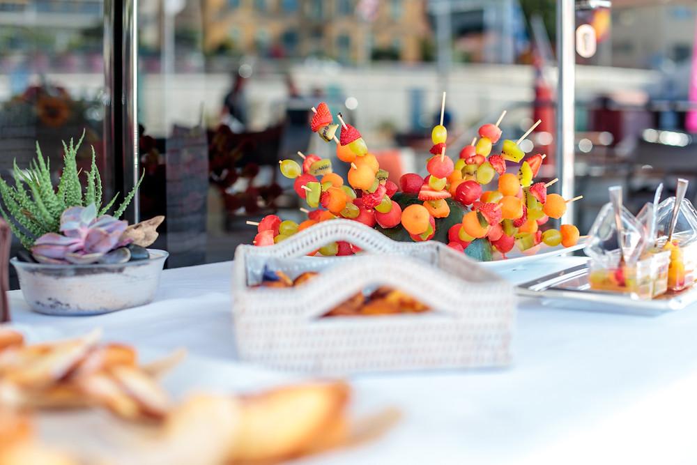 fresh food, yacht dining, food on a yacht